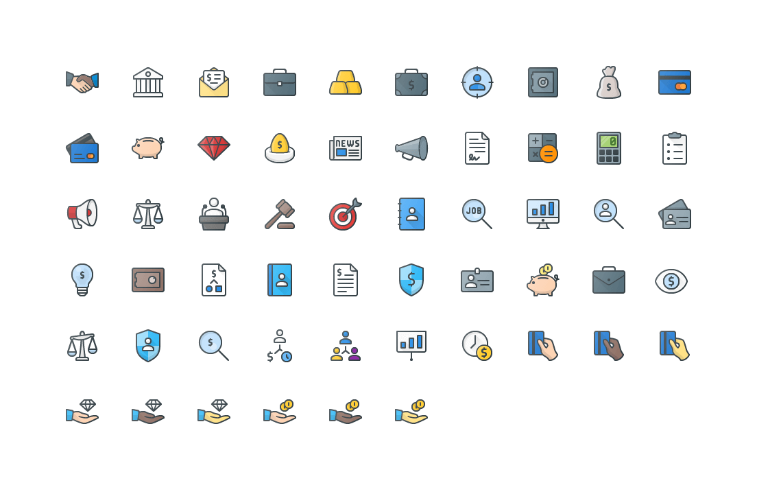 Business Colored Outline Icons
