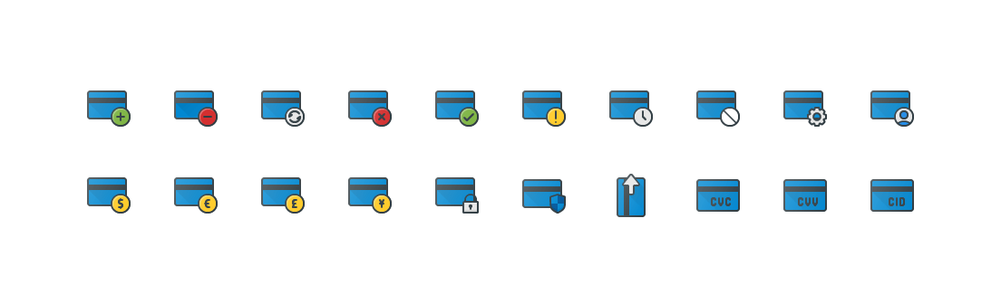 Bank Card Actions Colored Outline Icons