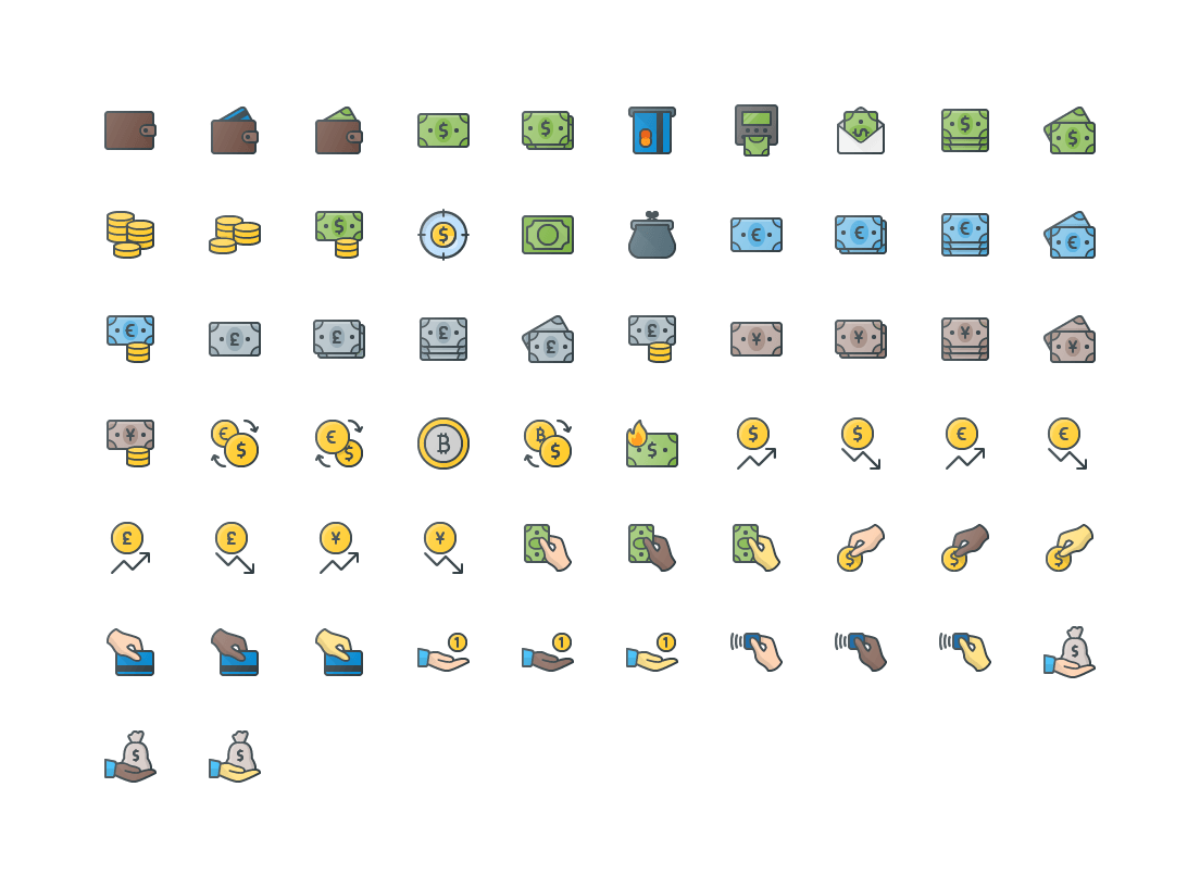 Money & Curencie Colored Outline Icons