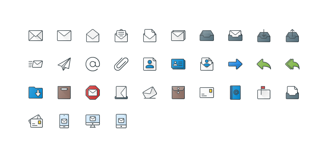 Emails Colored Outline Icons
