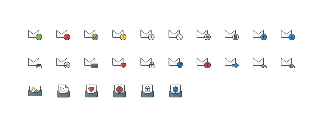 Email Actions Colored Outline Icons