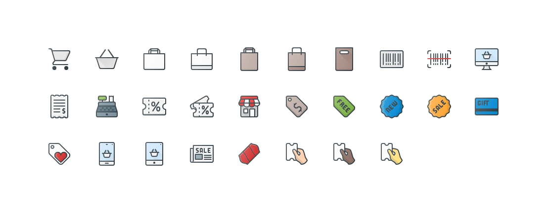 Shopping Colored Outline Icons