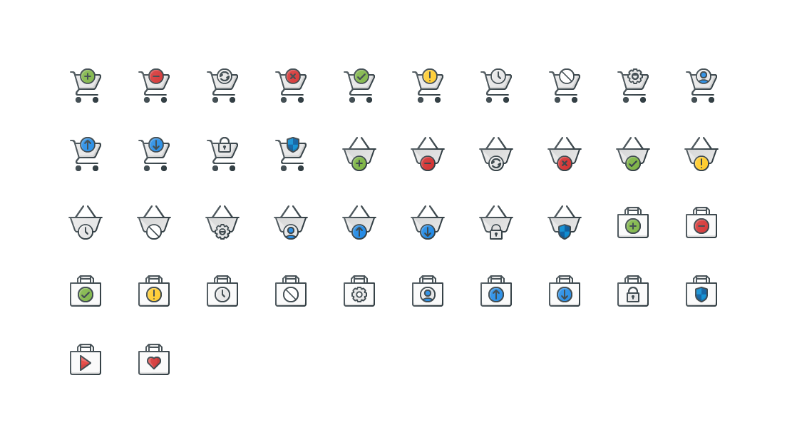 Shoppimg Actions Colored Outline Icons