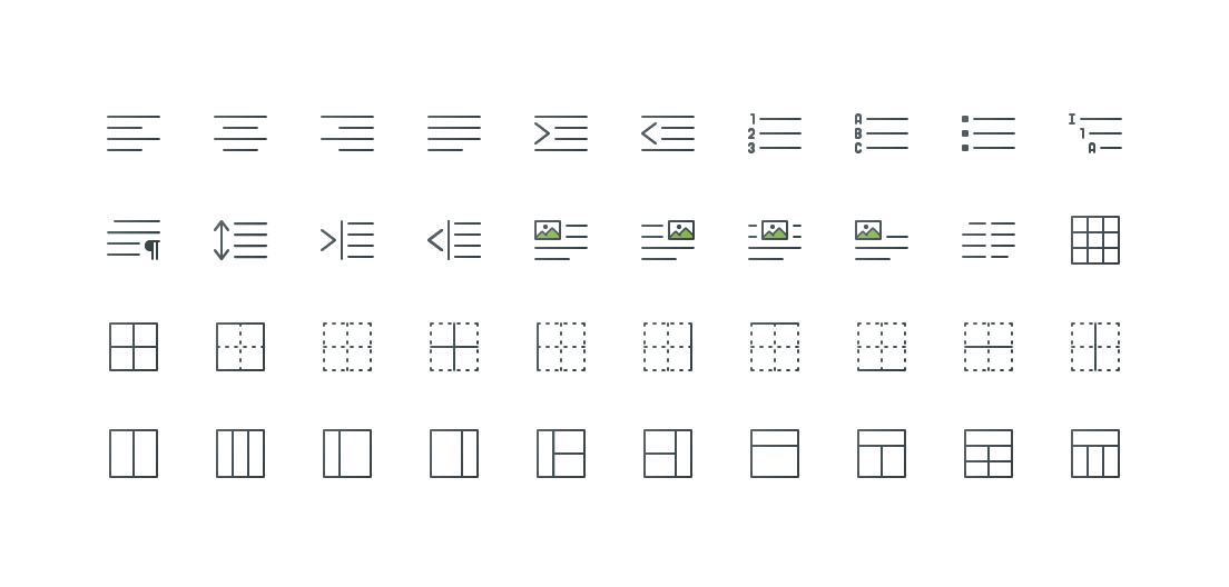 Alignment & Paragraph Colored Outline Icons