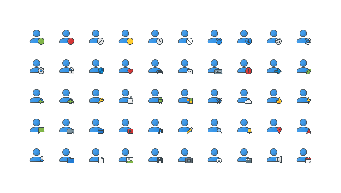 User Actions Colored Outline Icons