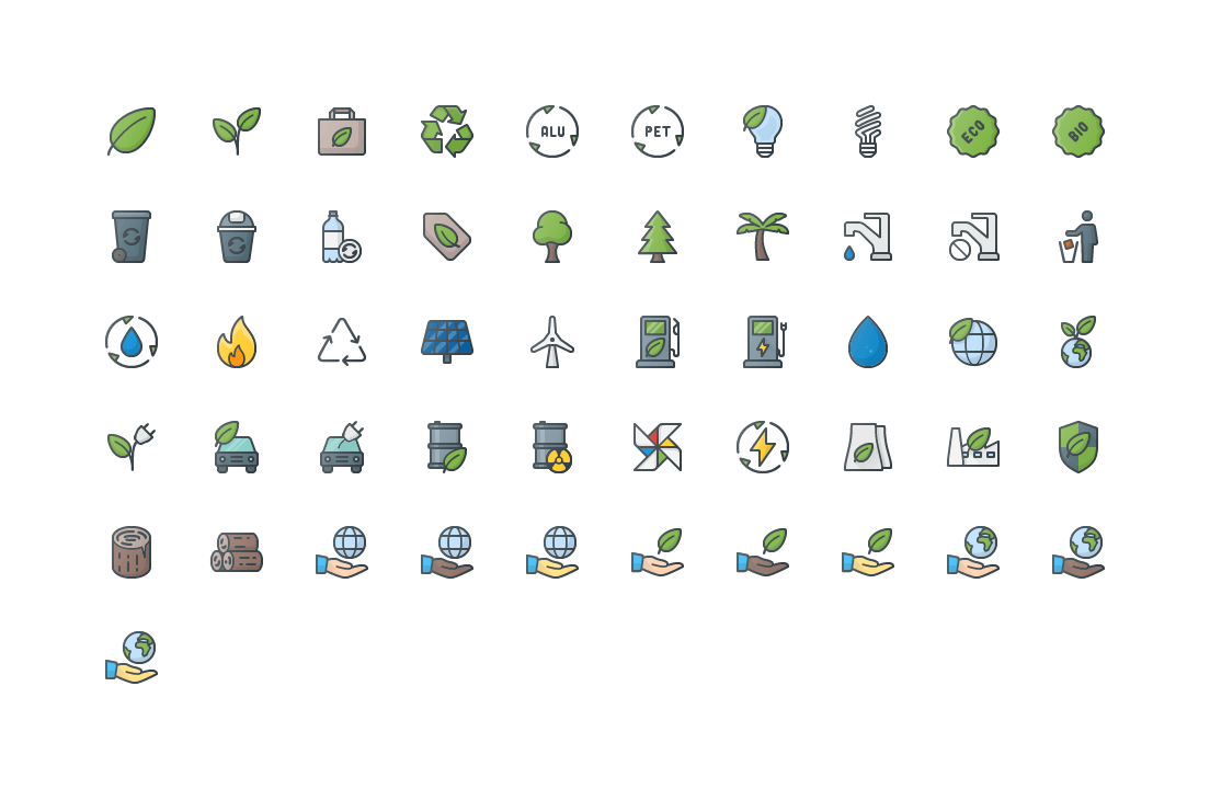 Nature & Ecology Colored Outline Icons