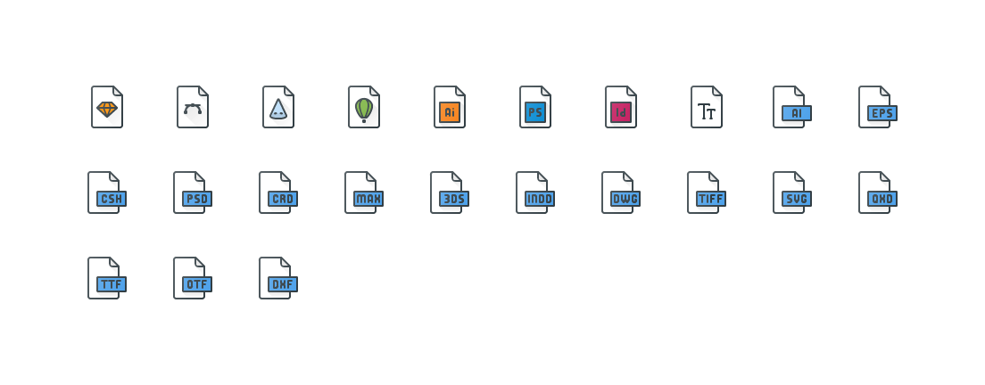 Design Files Colored Outline Icons