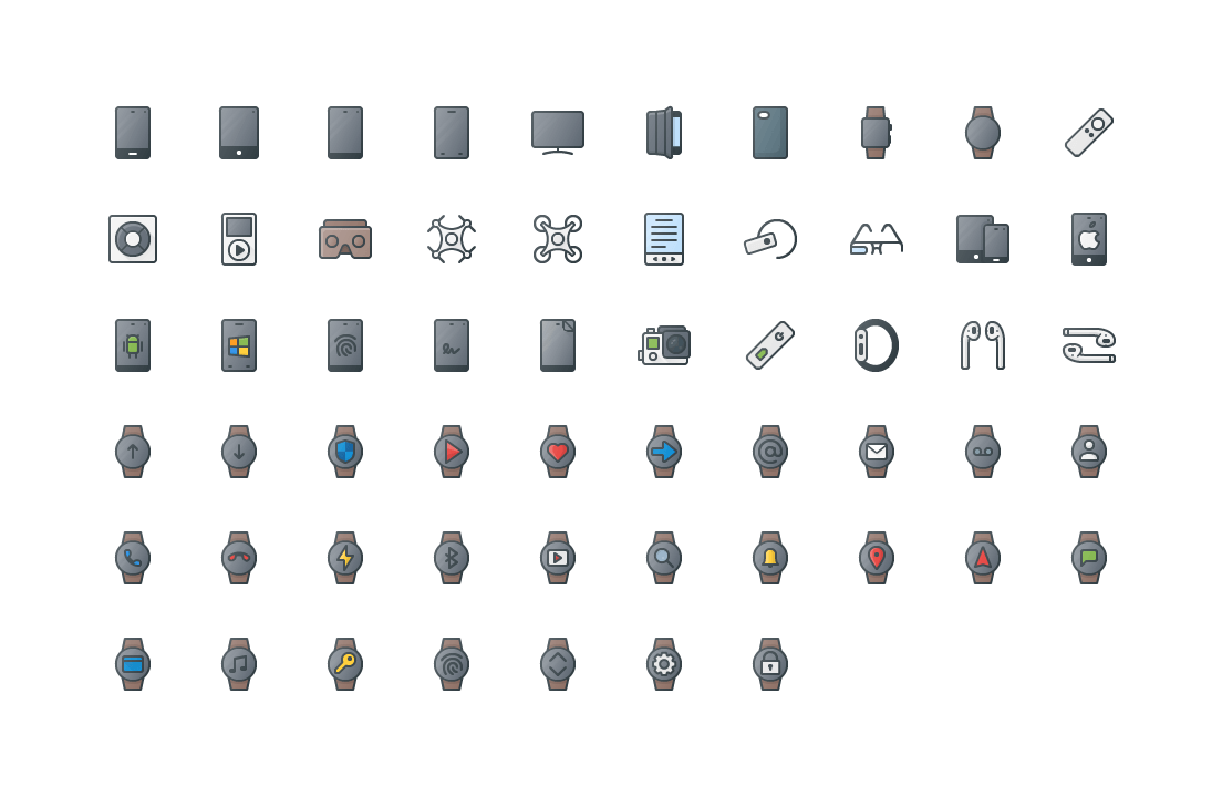 Smart Devices Colored Outline Icons