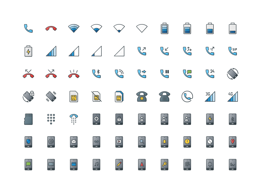 Mobile & Telephone Colored Outline Icons