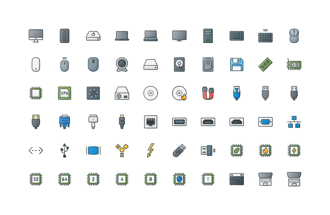 IT & Components Colored Outline Icons