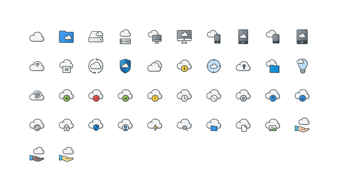 Cloud Storage Colored Outline Icons