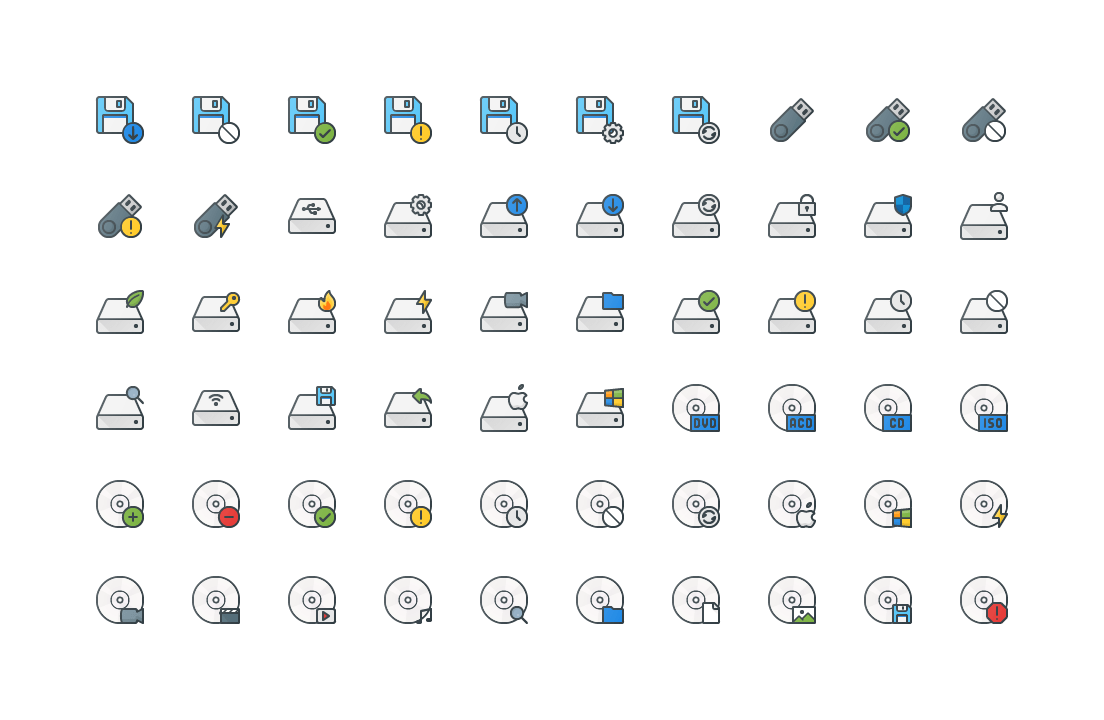 Storage & Data Colored Outline Icons