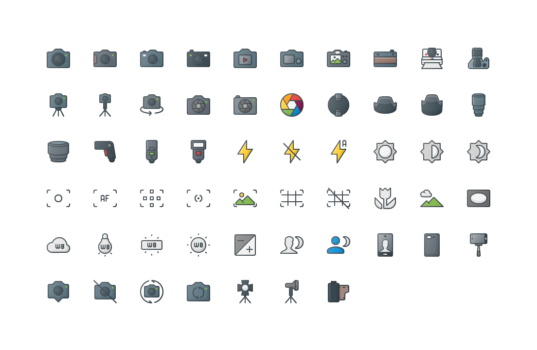 Photography & Images Colored Outline Icons
