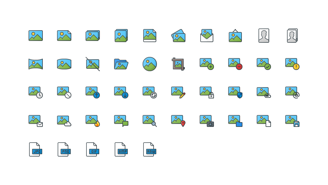 Images & Image Files Colored Outline Icons