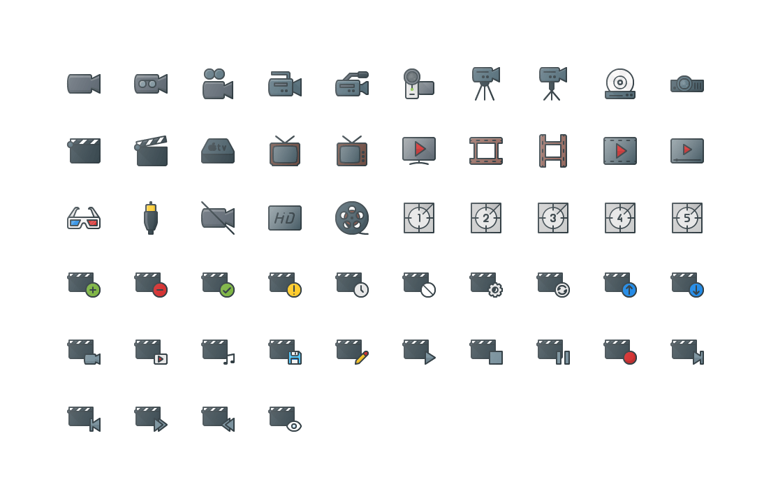 Video Colored Outline Icons