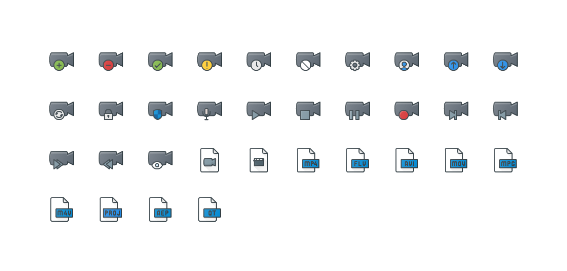 Video Actions & Files Colored Outline Icons