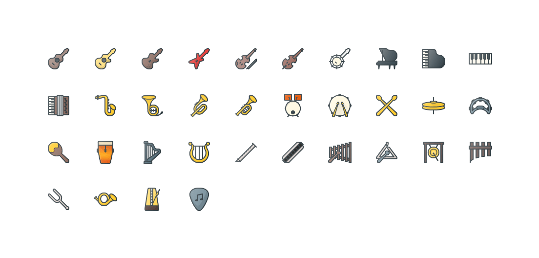 Music Instruments Colored Outline Icons