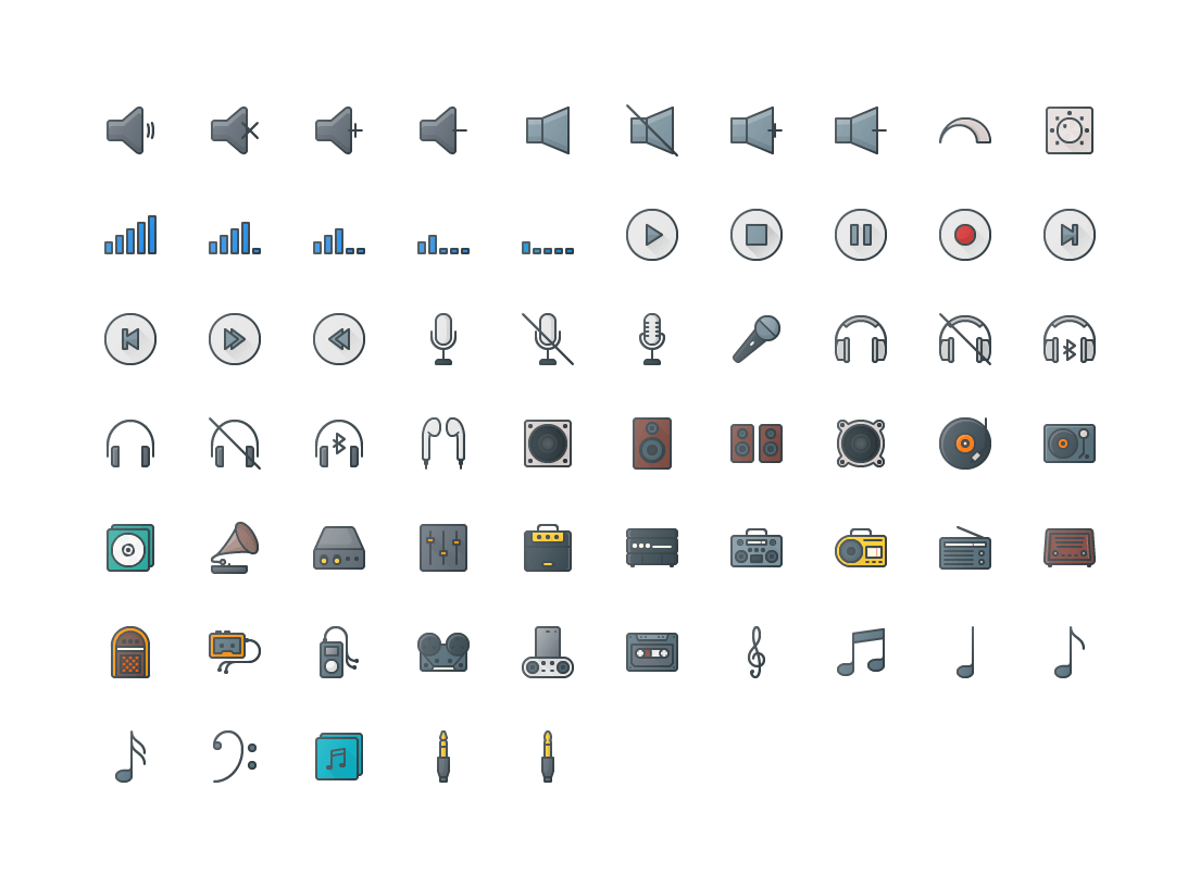 Music & Audio Colored Outline Icons