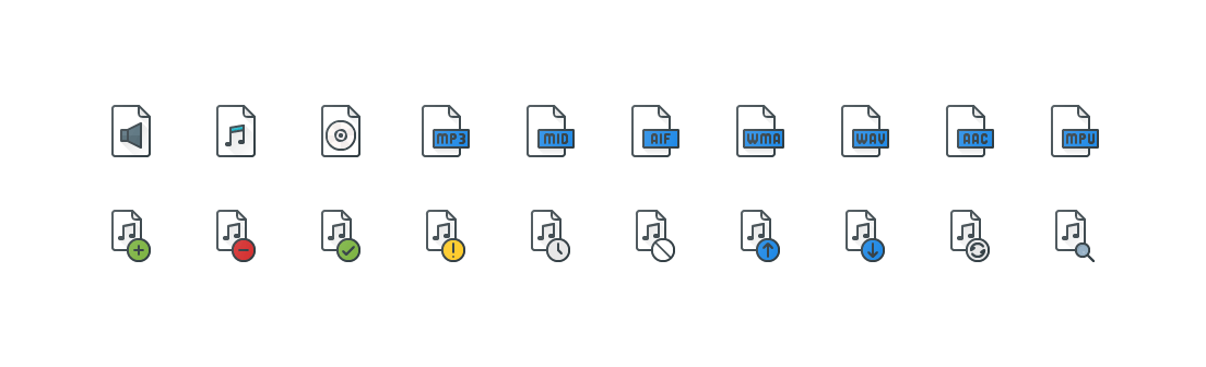 Audio Files Colored Outline Icons