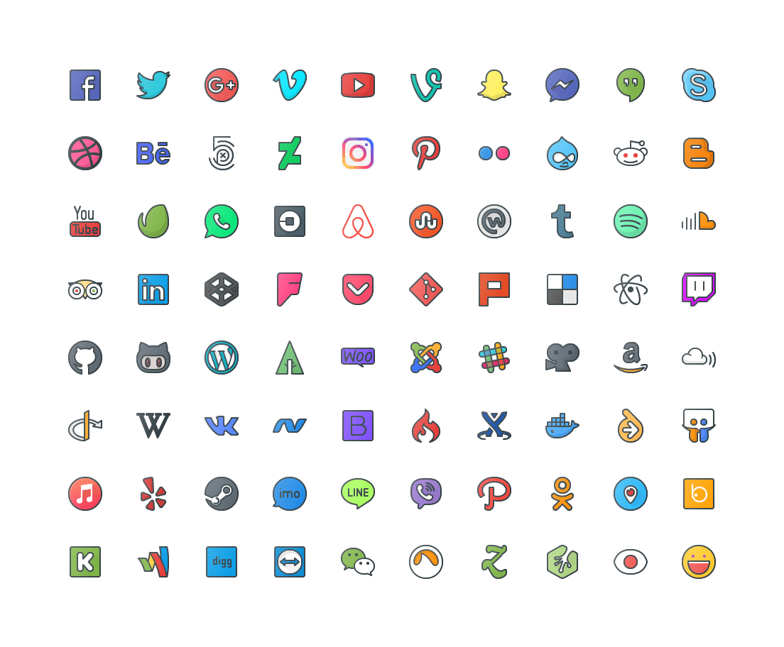 Social Media Colored Outline Icons