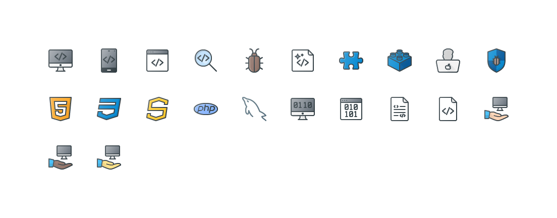 Programing & Development Colored Outline Icons