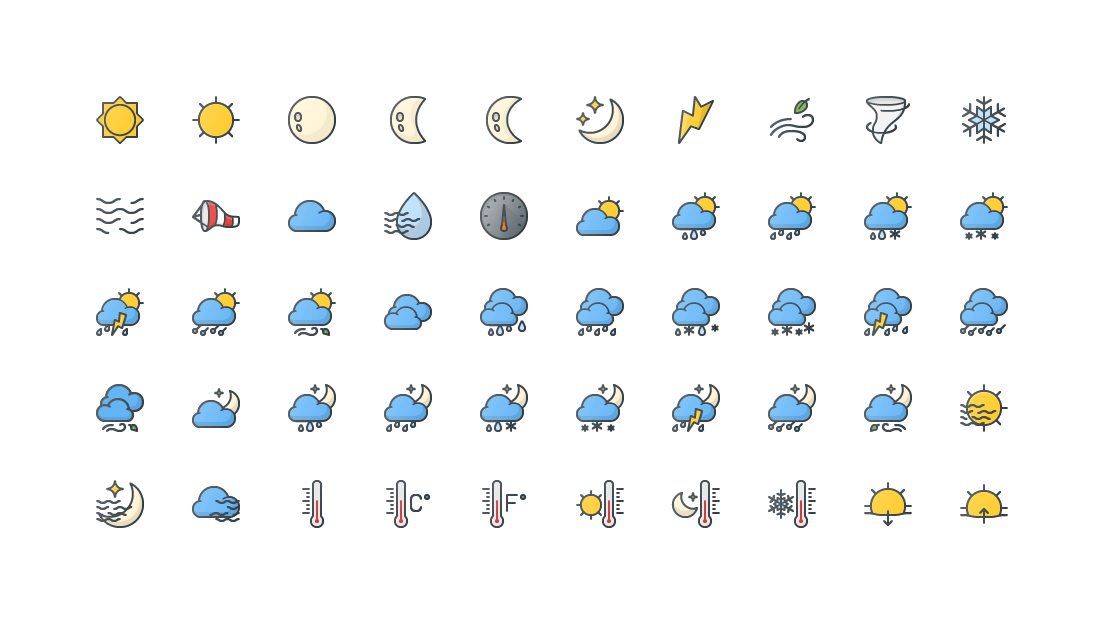 Weather Colored Outline Icons