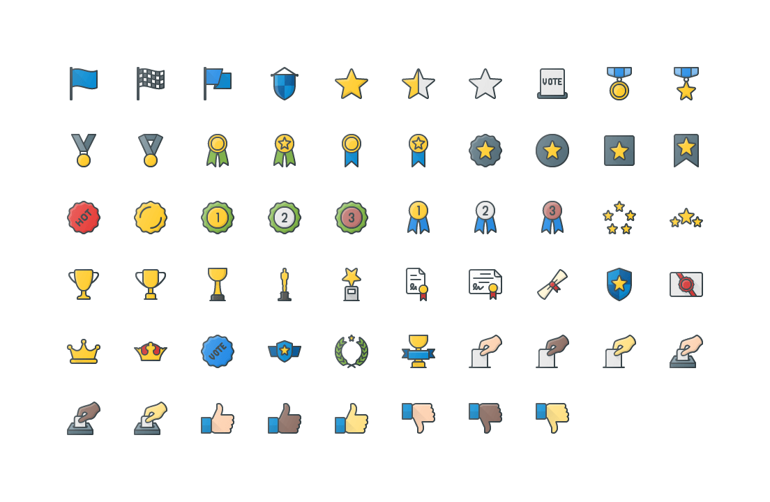 Vote & Reaward Colored Outline Icons