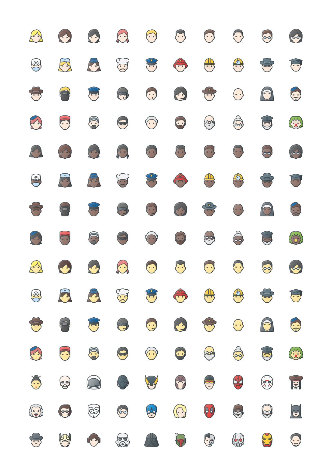 People & Avatars Colored Outline Icons