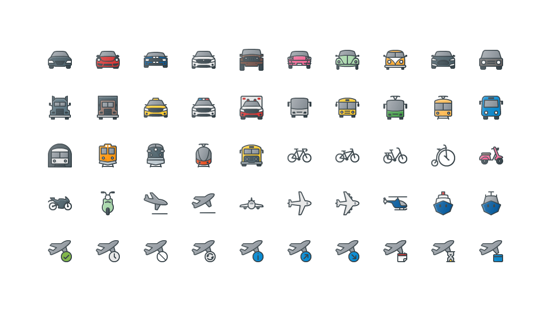 Transportation & Vehicles Colored Outline Icons