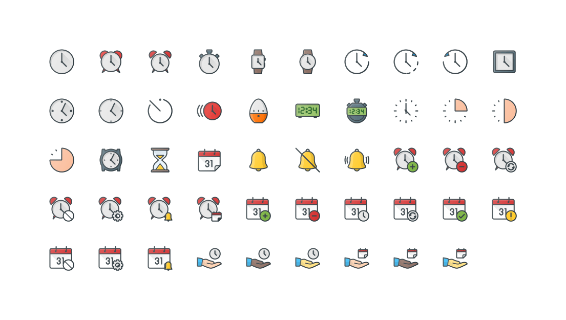 Time & Calendar Colored Outline Icons