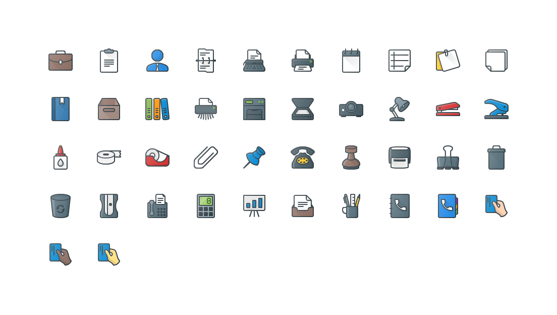 Office Colored Outline Icons