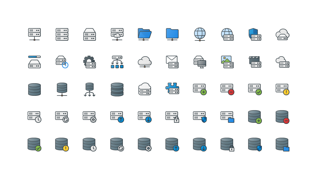 Servers & Database Colored Outline Icons