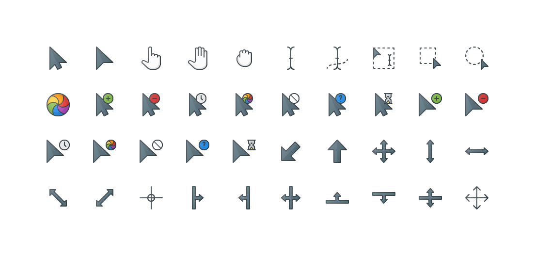 Selection & Cursors Colored Outline Icons