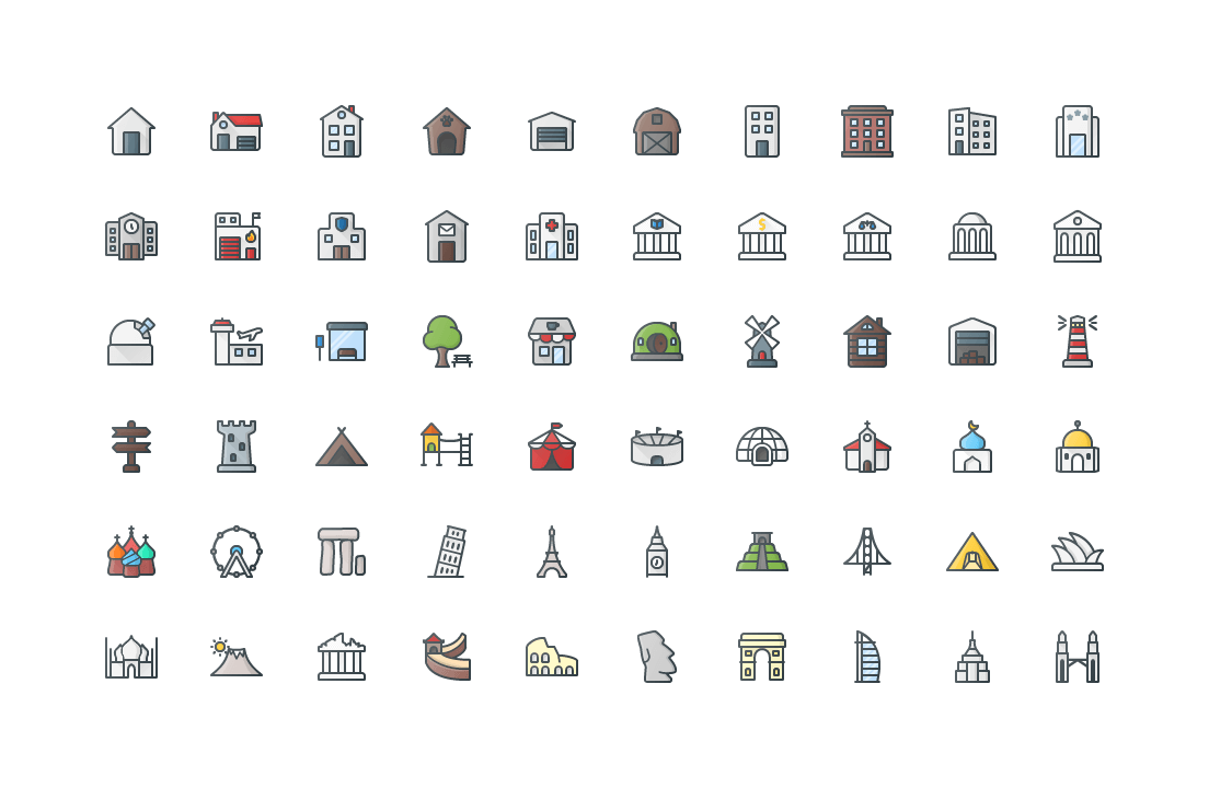 Places Colored Outline Icons