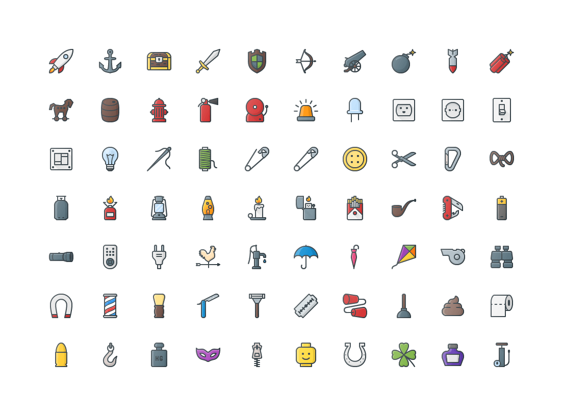 Objects Colored Outline Icons