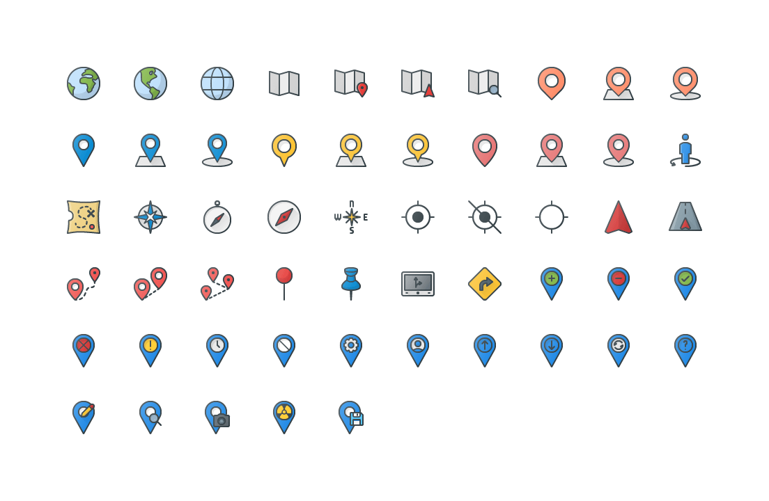 Maps Locations Colored Outline Icons