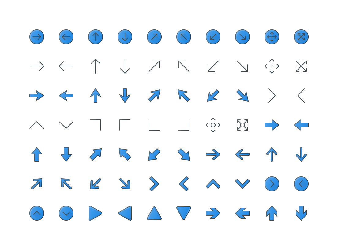 Arrows Colored Outline Icons