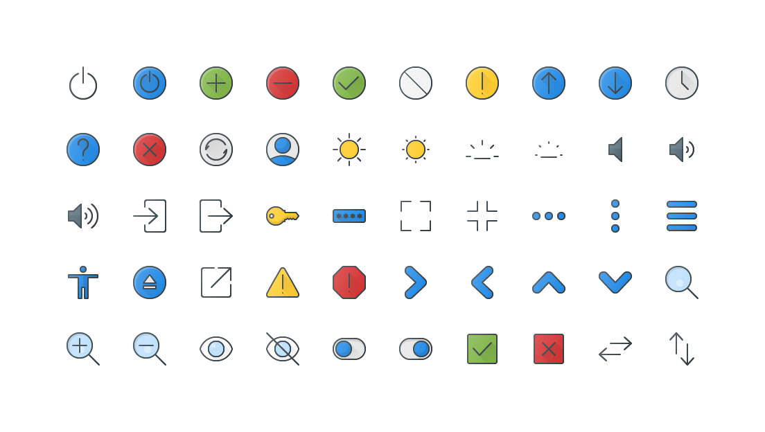 Interface Colored Outline Icons