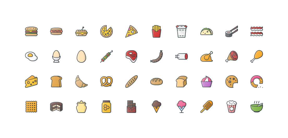 Food Colored Outline Icons
