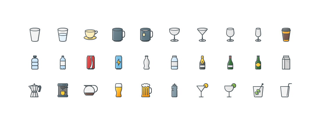 Drinks Colored Outline Icons