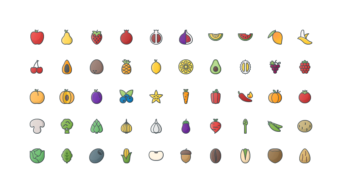 Fruits & Vegetables Colored Outline Icons
