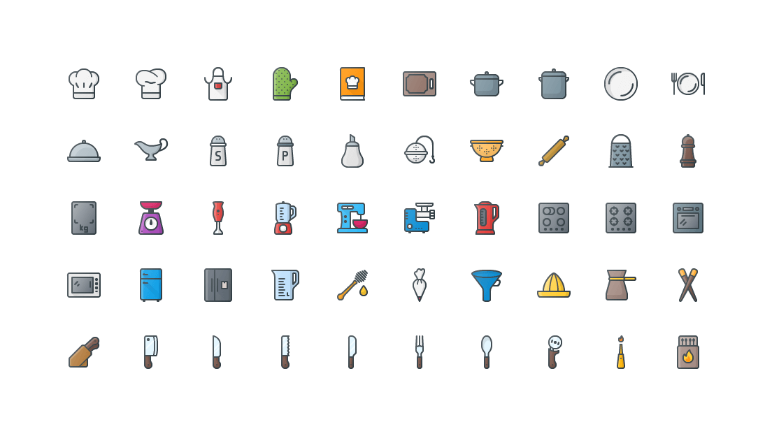 Kitchen Colored Outline Icons