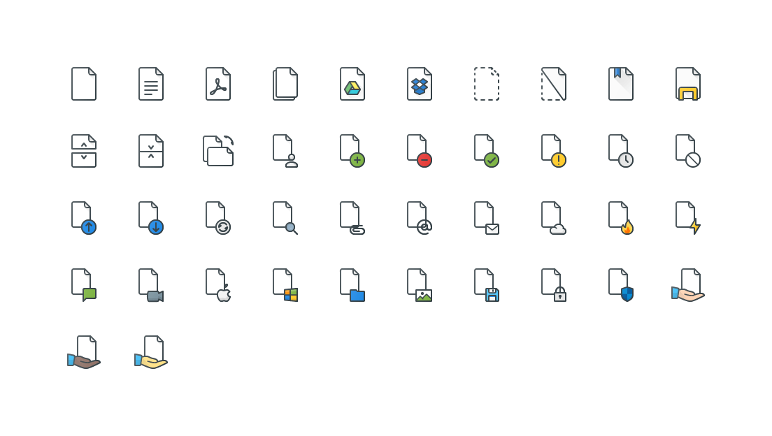 Files Colored Outline Icons