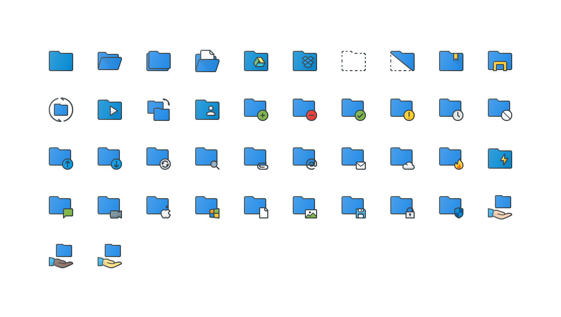 Folders Colored Outline Icons