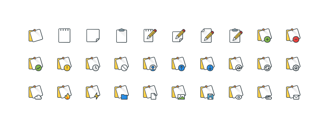 Notes Colored Outline Icons