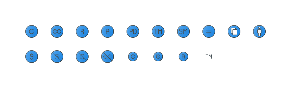 Copy Right Colored Outline Icons