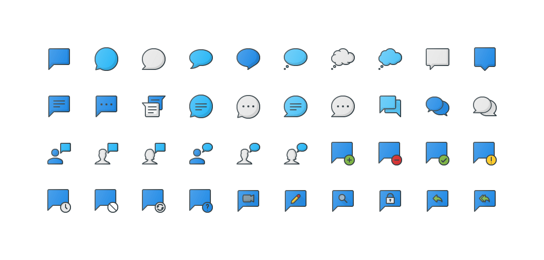 Messages & Chat Colored Outline Icons