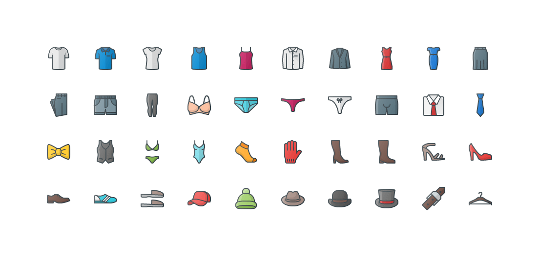 Clothes & Accessories Colored Outline Icons