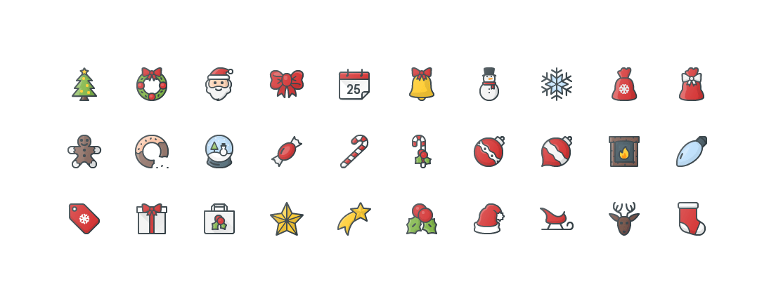 Christmas Colored Outline Icons
