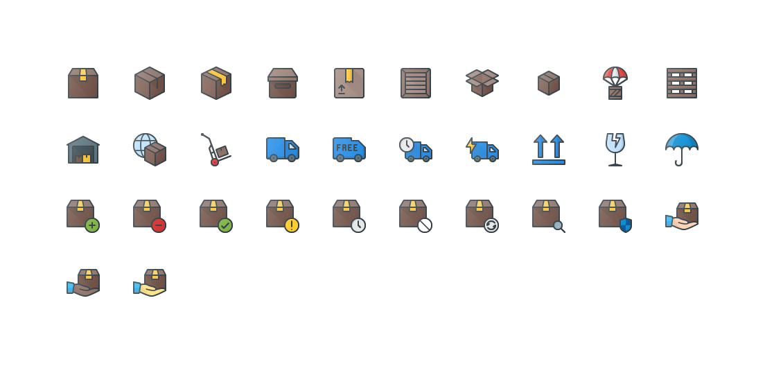 Shipping & Delivery Colored Outline Icons